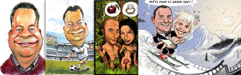 caricature avec décors