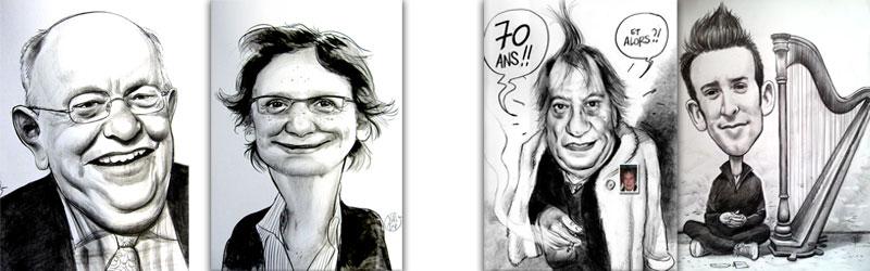 réalisations caricatures et portraits